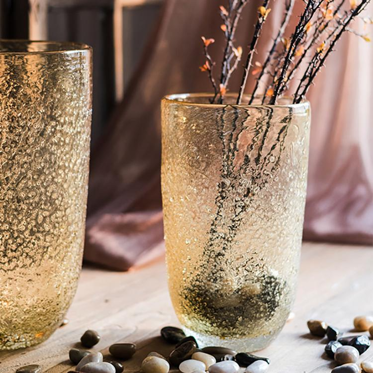 Amber Color Textured Glass Vase RusticReach