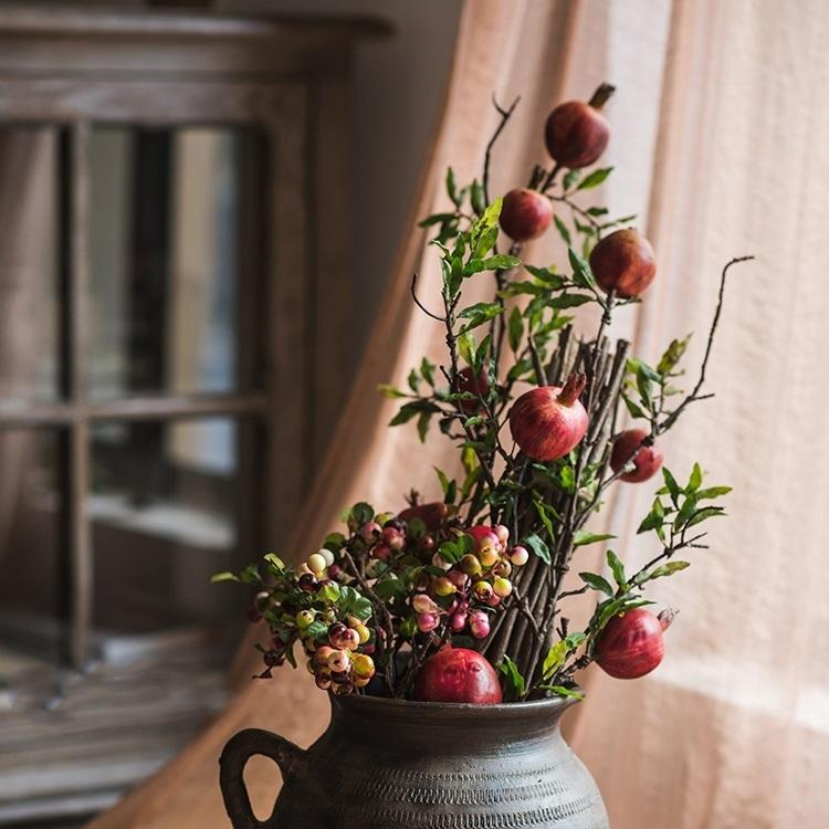 "Artificial Fruit Large Red Pomegranate Fruit Stem 36"" Tall RusticReach"