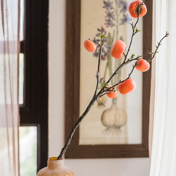 "Artificial Fruit Persimmon Fruit Stem 43"" Tall RusticReach"