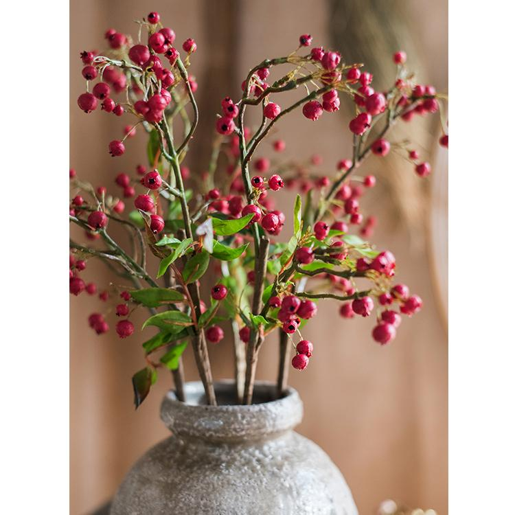 "Artificial Malus Baccata Stem in Red 22"" Tall RusticReach"