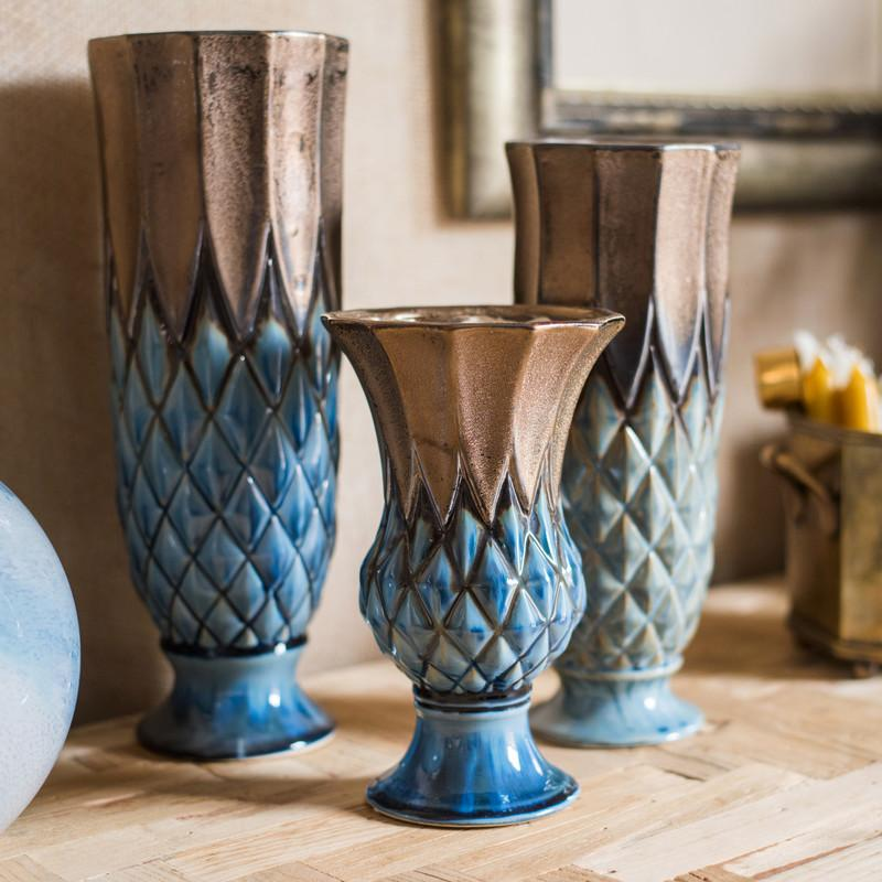 Blue Gold Grid Pattern Glazed Ceramic Vase Collection RusticReach