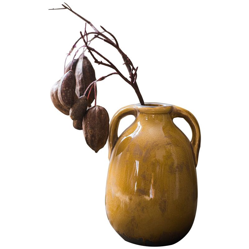 Cocoa Stem in Yellow Porcelain Vase Set RusticReach