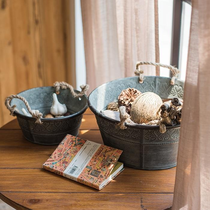 Iron Tub Antique Flower Pattern Tub with Rope Handles (Set of 3) RusticReach
