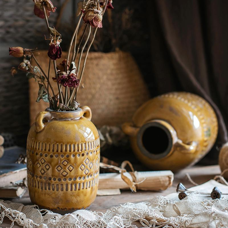 Mustard Yellow Glazed Ceramic Vase RusticReach