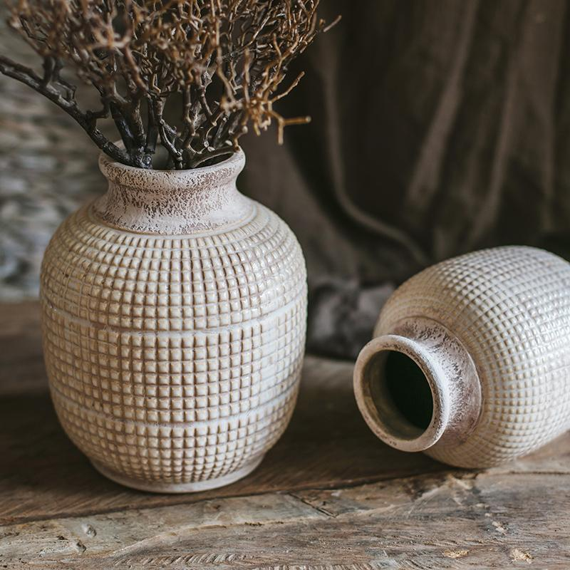 White Textured Porcelain Ceramic Jar Vase RusticReach