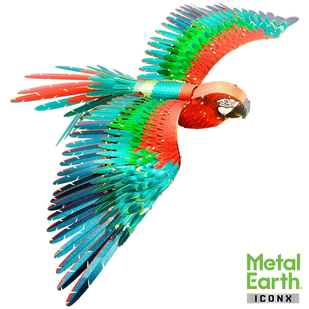 Scarlet Macaw Parrot in flight ICONX 3-D Metal Model