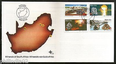 South Africa 1984 Minerals Diamond Gems Map Sc 630-33 FDC # 16316