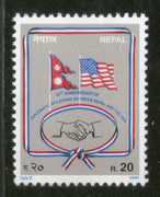 Nepal 1997 Diplomatic Relations Between US Hand Shake Flags Sc 613 MNH # 2473