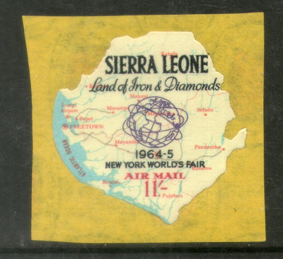 Sierra Leone 1964 11sh Worlds Fair Map Odd Shaped Self Adhesive Sc C20 MNH # 424