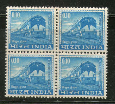 India 1966 10p Electric Locomotive 4th Def. Series WMK-Ashokan Phila-D76 BLK MNH - Phil India Stamps