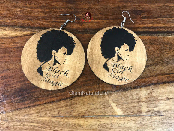Black Girl Magic - Wooden Dangling Earrings