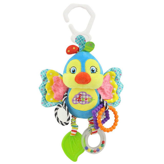 Cartoon Bird Baby Bed Stroller Hanging Rattles Newborn Mobile Rabbit Teether Appease Plush Toy With BB Bell Paper Rubber Rings