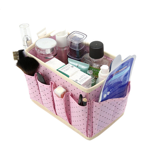 Cute Dots Desktop Cosmetic Organizer Makeup Storage Boxes Bins Non-woven Wash Accessories Boxes