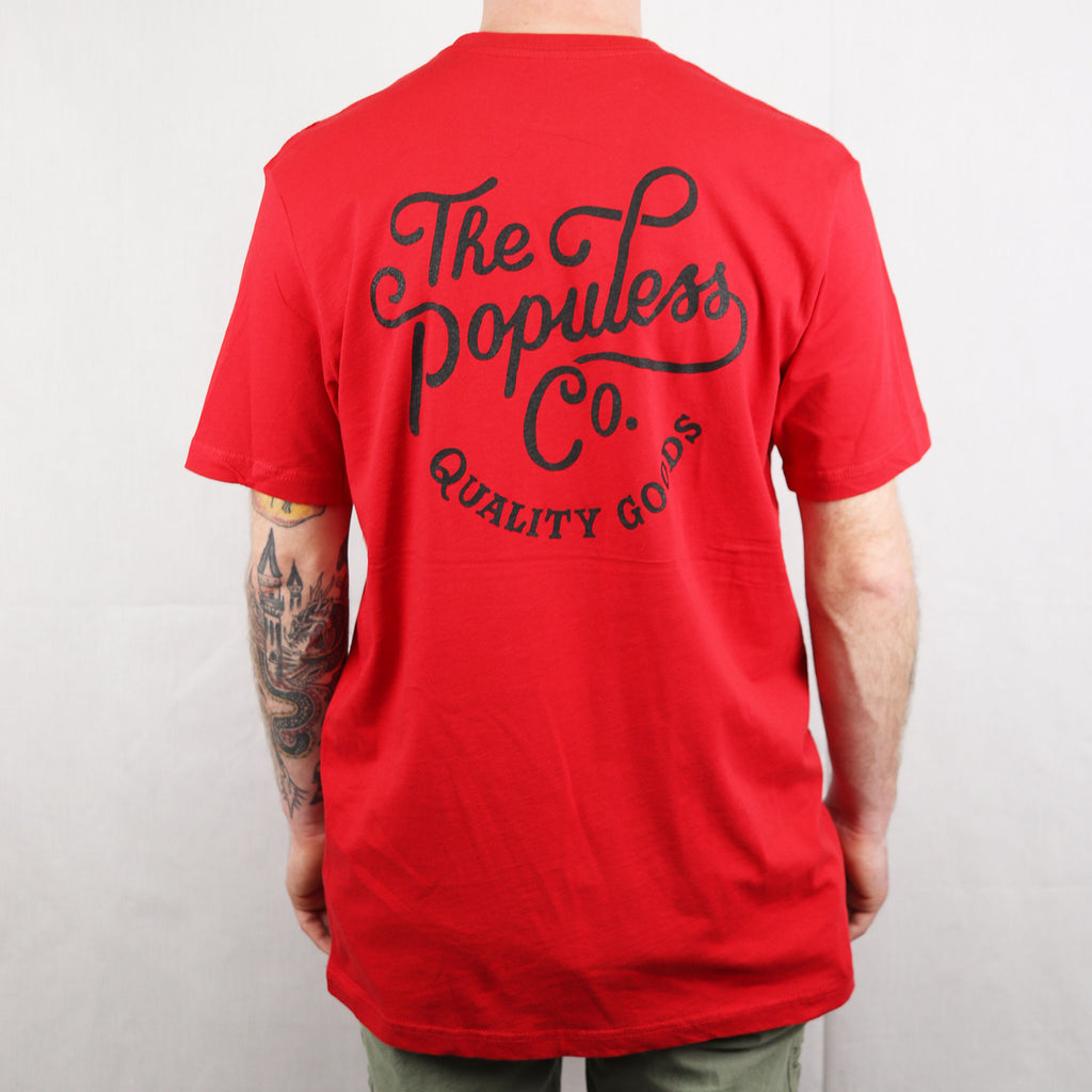 Script Tee - Red - The Populess Company