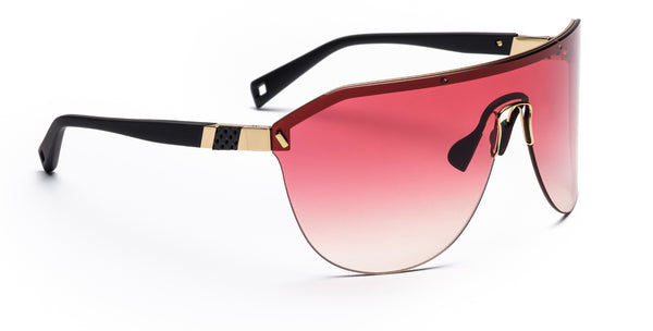 Westward Leaning Pink Vibe 01 sport glasses angled with a white background
