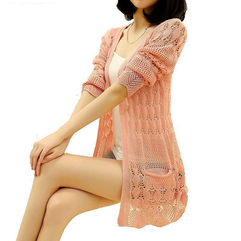 Knitted Cardigan Loose Pocket Hollow