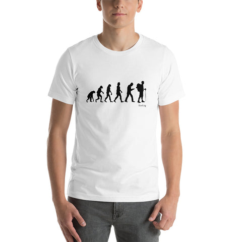 "Camisa T-shirt ""Human Evolution Backpacker version"""