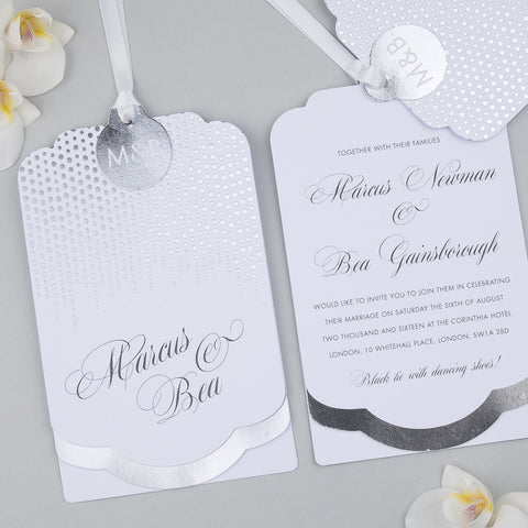 Corinthia Luxe Invitation suite in Silver foil on White
