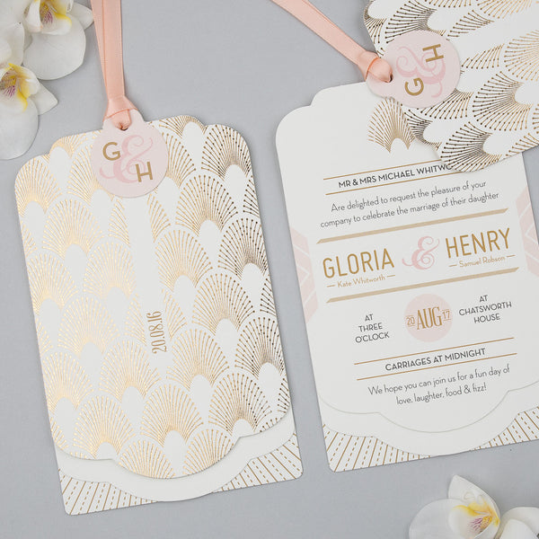 Sample - DECOdence Foil Luxe Invitation in Gold foil on Ivory