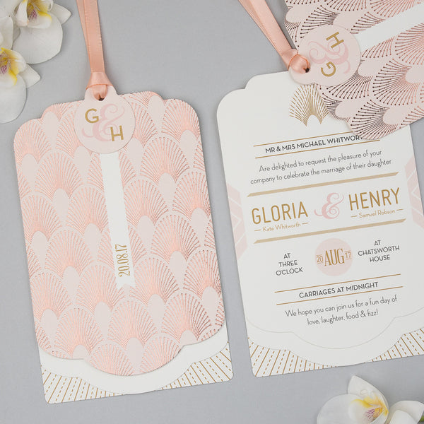 DECOdence Foil Luxe Wedding Invitation suite in Rose Gold foil on Blush
