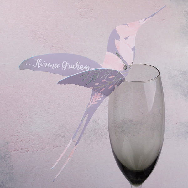 Ethereal Hummingbird Wine Glass Place Card or Escort Card, personalised