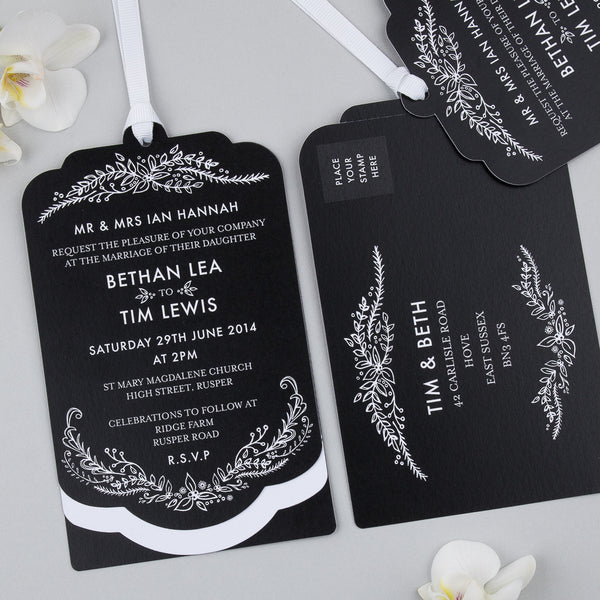 Sample - Heritage Sprig Luxe Invitation in Charcoal