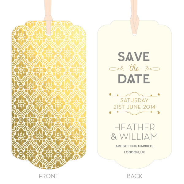 Love Lace Metallics Luggage Tag Save the Date in Gold, Rose Gold & Silver
