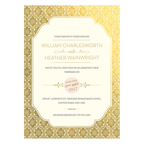 Sample - Love Lace Metallics Supa Simple Invitation in Gold foil/Ivory