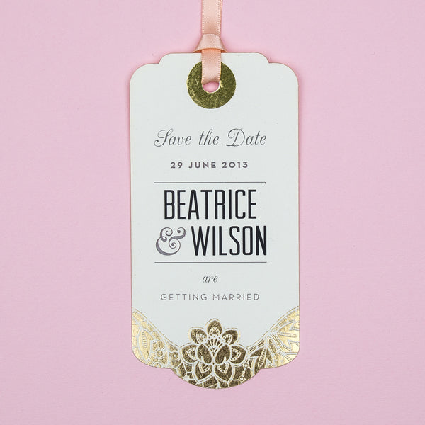 Modern Metallics Luggage Tag Save the Date, 4 colour options