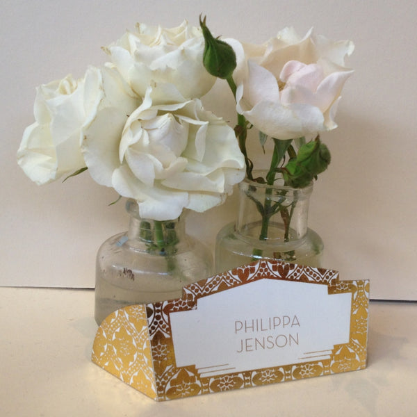Love Lace Metallics Foil Classic Place Cards, personalised