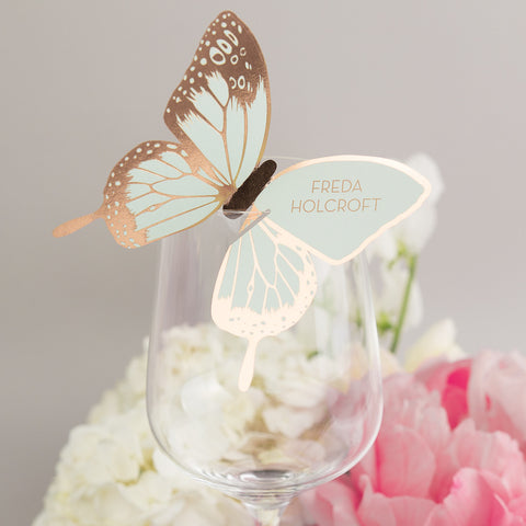 Sample - Metallic Butterfly Wine Glass Place Card in Gold/Mint