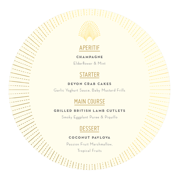 DECOdence Foil Round Plate Menu, in Gold, Rose Gold & Silver foils