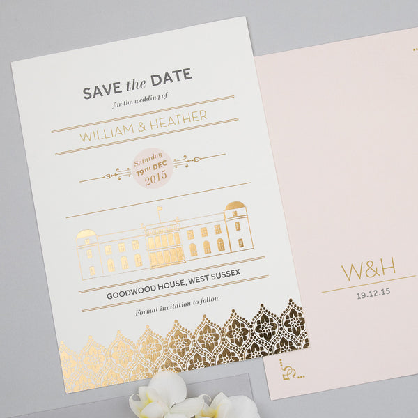 Love Lace Metallics Classic Save the Date in Gold, Rose Gold & Silver