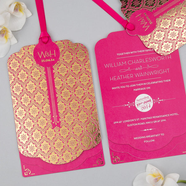 Love Lace Metallics Luxe Invitation suite in Gold foil on Fuchsia