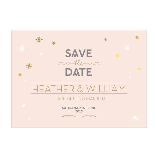 Stardust Classic Save the Date in Blush & Duck Egg Blue