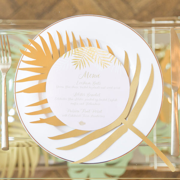 Palms Combined Round Plate Menu & Place Card