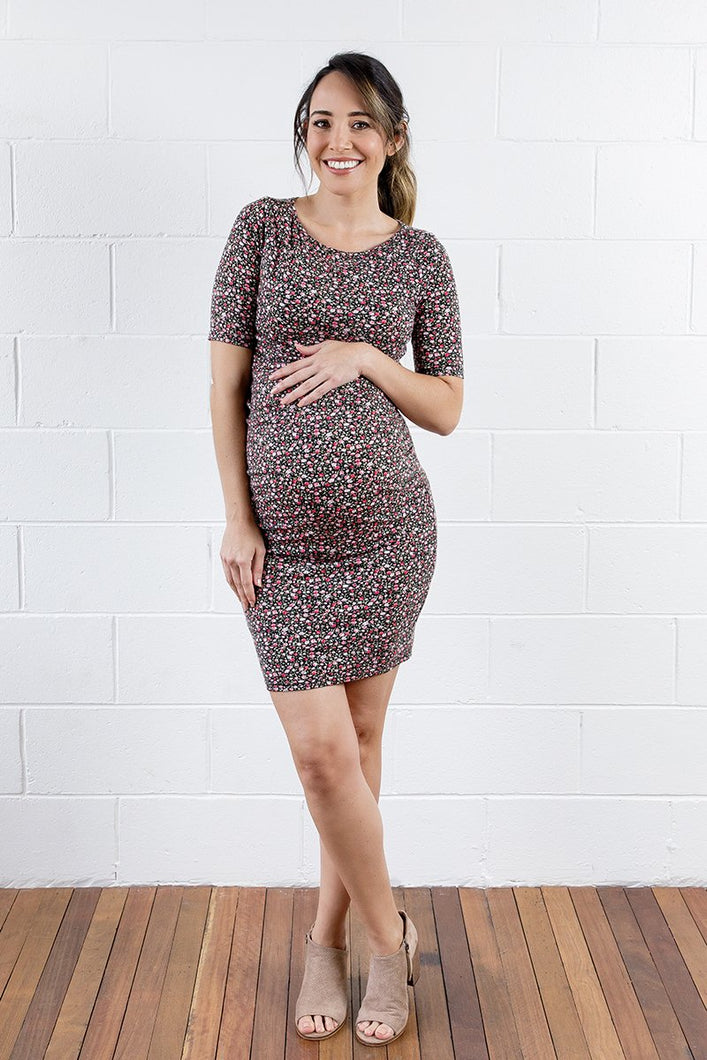 Luella Maternity & Nursing Dress in Ditsy Rose - XLarge only