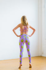 Purple High Waisted Yoga Pants with Kiwi Pattern