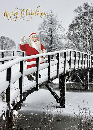 Santa Claus on Bridge, Door Cover - Door Decoration