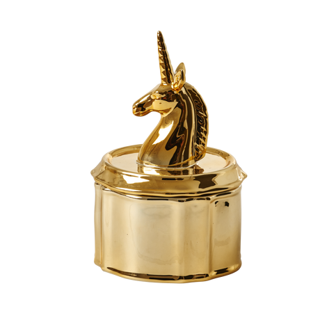 Rice DK | Large Porcelain Jewelry Box with Gold Unicorn Head Lid