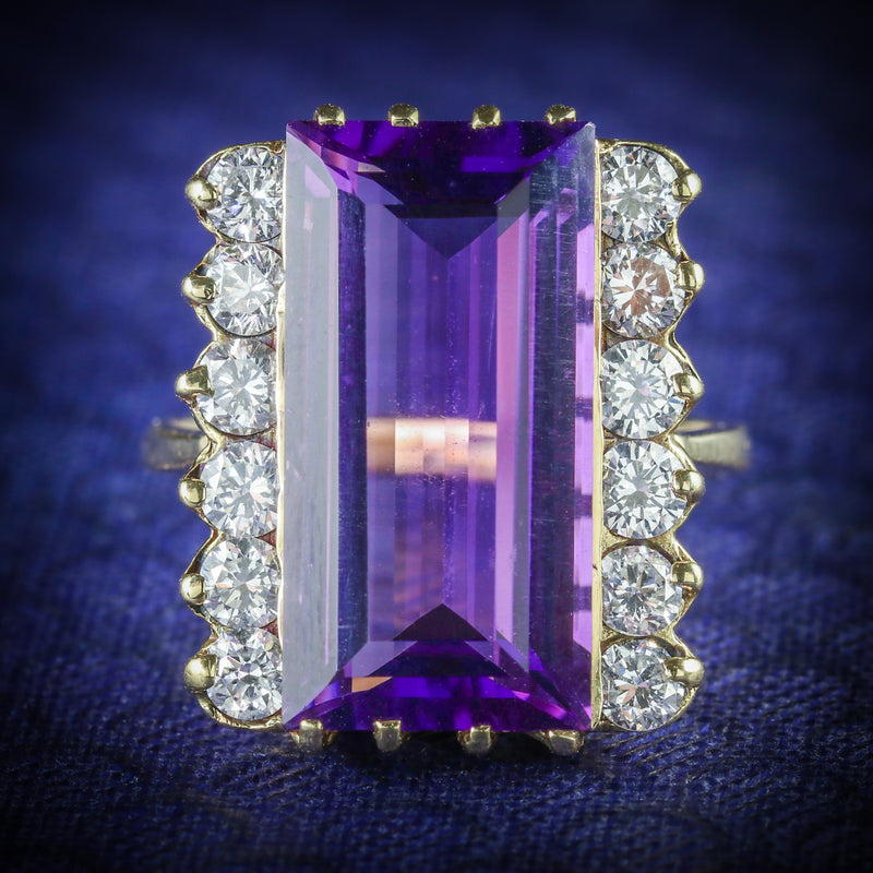 AMETHYST DIAMOND RING 18CT GOLD 10CT AMETHYST COVER