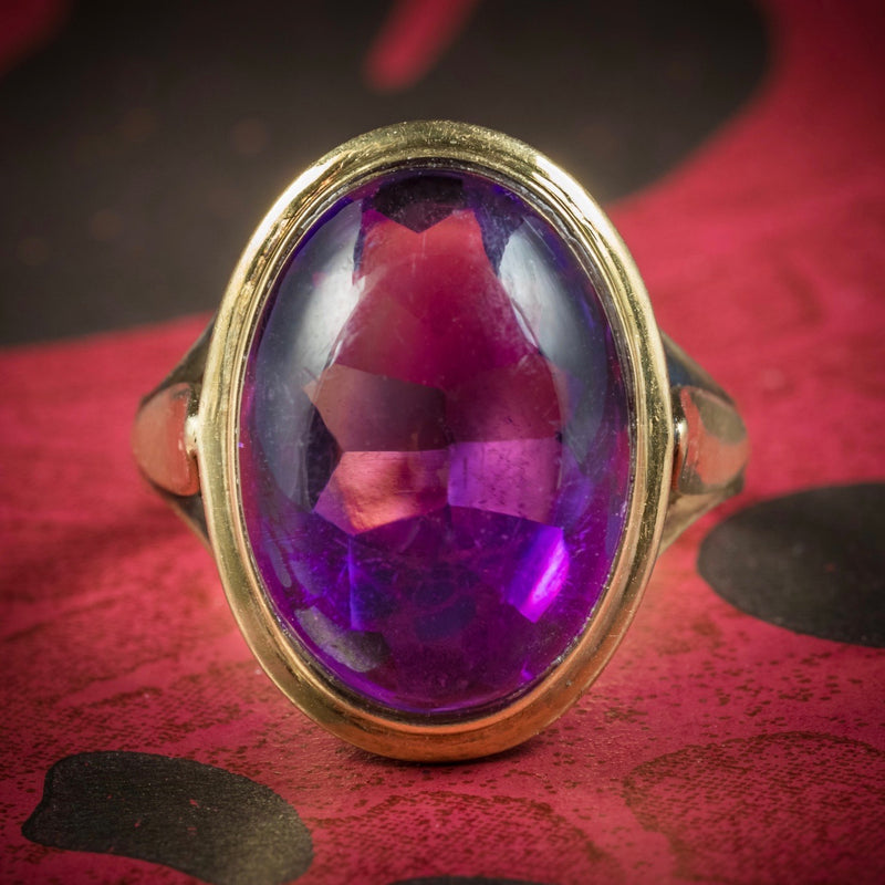 Antique Arts and Crafts Cabochon Amethyst Ring 18ct Gold Circa 1900 COVER