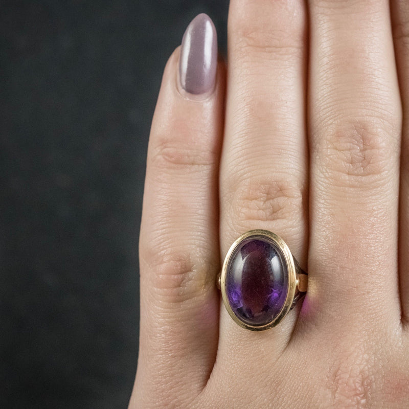Antique Arts and Crafts Cabochon Amethyst Ring 18ct Gold Circa 1900 HAND