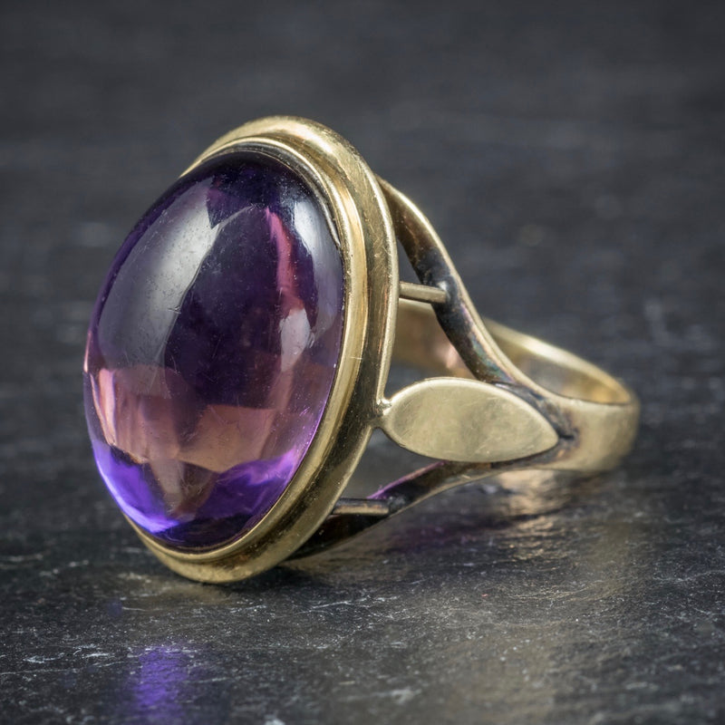 Antique Arts and Crafts Cabochon Amethyst Ring 18ct Gold Circa 1900 SIDE1
