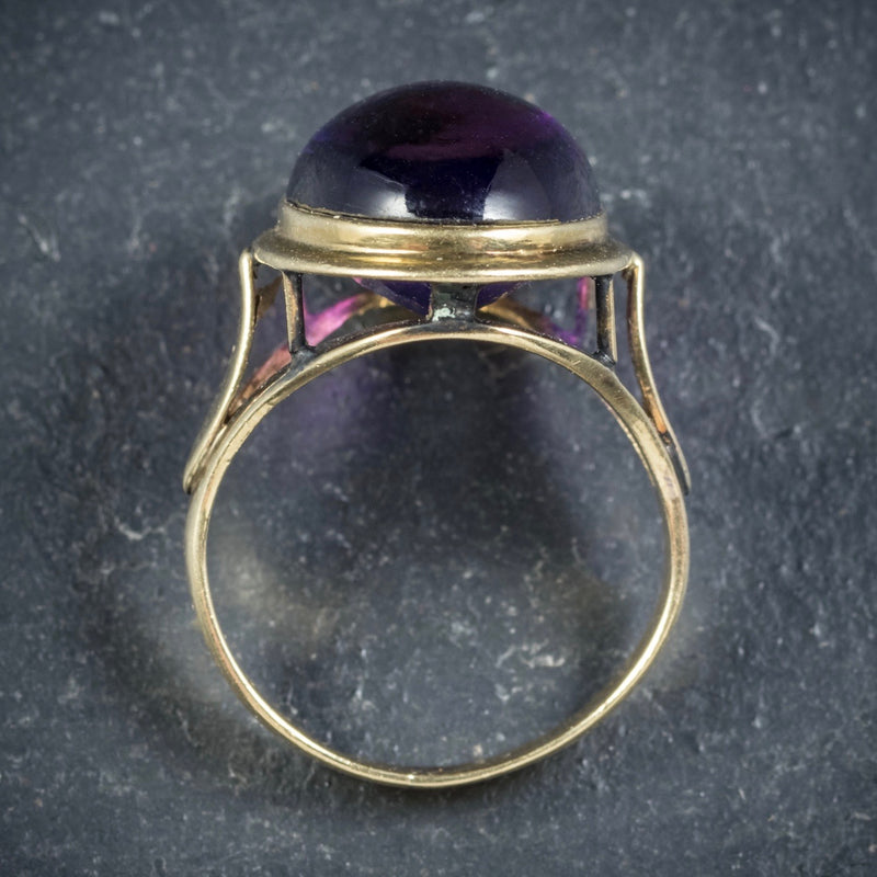 Antique Arts and Crafts Cabochon Amethyst Ring 18ct Gold Circa 1900 TOP