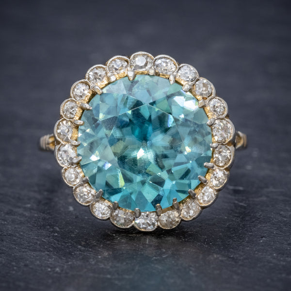 Antique Edwardian 8ct Blue Zircon Cluster Ring Circa 1905 front