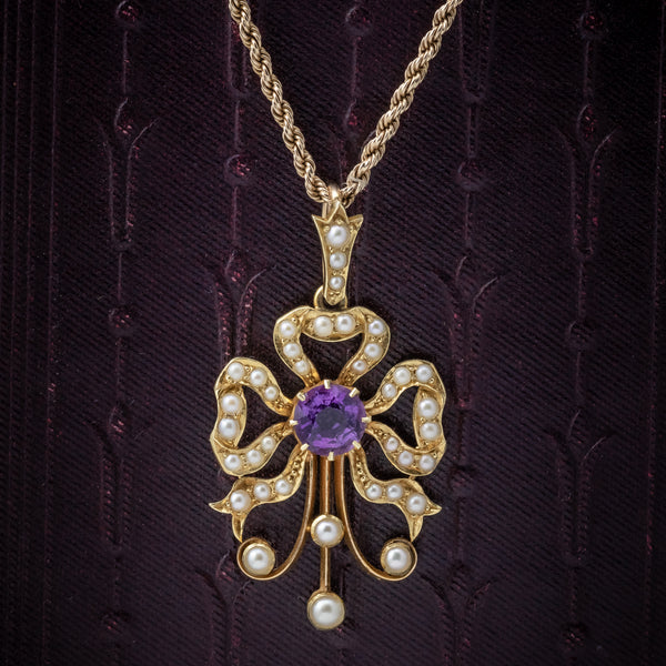 Antique Edwardian Amethyst Pearl Pendant Necklace 15ct Gold Circa 1910 cover
