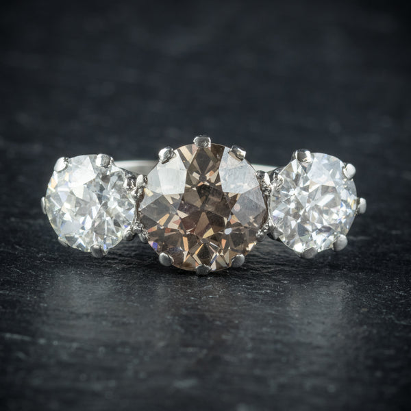 Antique Edwardian Brown Diamond Trilogy Ring Platinum Circa 1910 FRONT