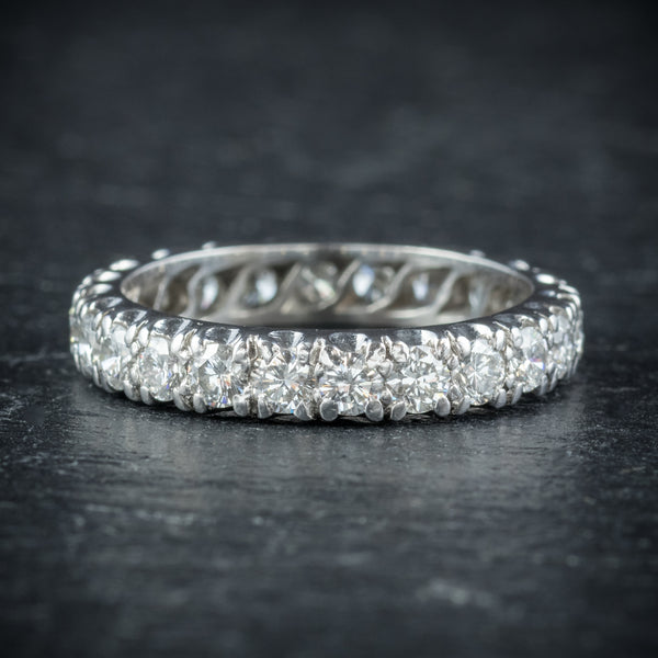 Antique Edwardian Diamond Eternity Ring Platinum Circa 1915 side