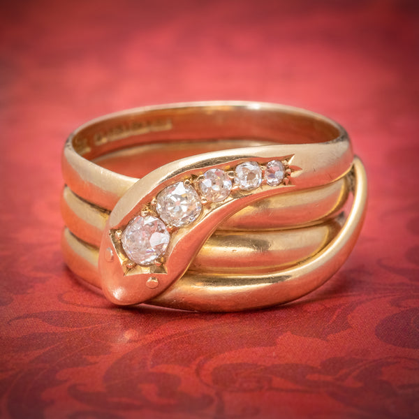 Antique Edwardian Diamond Snake Ring 18ct Gold Dated 1906 COVER